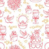 无缝粉红色背景为一场婚礼的 — 图库矢量图片