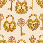 Seamless gold keys and locks — Vetor de Stock