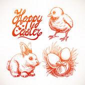Cute sketch Easter set — Stock Vector