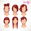 Brunette. different hairstyles. — Stock Vector #66569595