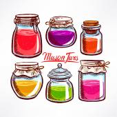 Colorful mason jars — Vetor de Stock