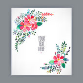 Greeting card with watercolor flowers — Stock Vector