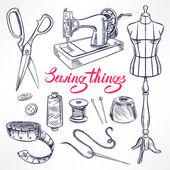 Sketch tailoring equipment — Stock Vector