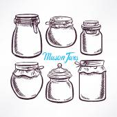 Sketch mason jars — Stock Vector