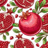 Seamless ripe hand-drawn pomegranate — Stock Vector
