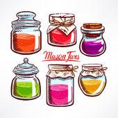Colorful mason jars - 2 — Stock Vector