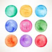 Colorful watercolor round spots — Stok Vektör