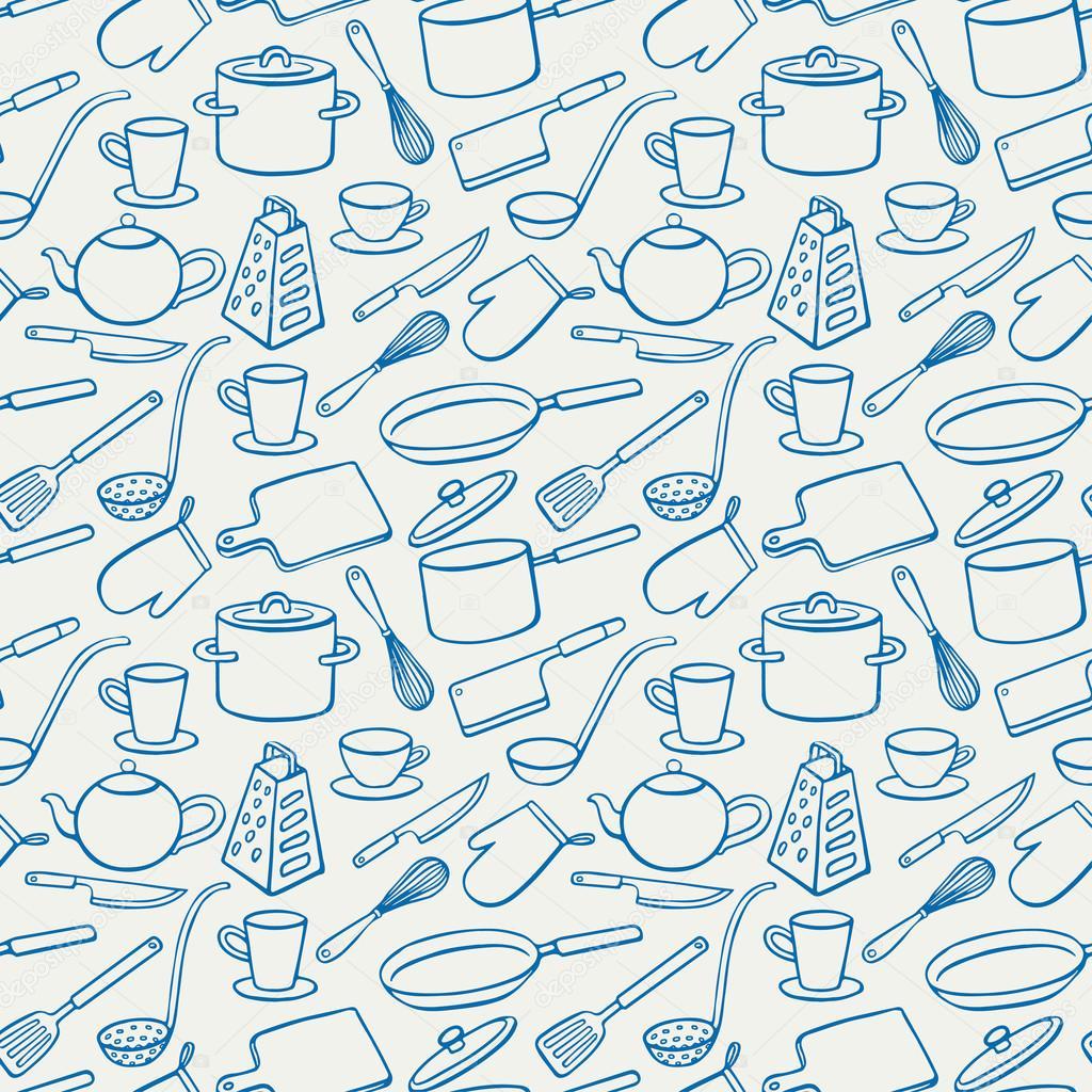Fundo com utensílios de cozinha azul — Vetores de Stock © Grey ant  #084D87 1024 1024
