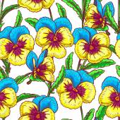 Seamless blue and yellow pansies — Stock Vector