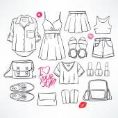 Summer sketch clothing — Stock Vector