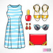 Womans spring outfit — Stock Vector