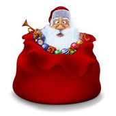 Santa Claus sits in a sack with gifts — Stockfoto