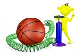 Yellow man pumps a ball for basketball — Stock Photo