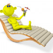 Yellow man on a chaise lounge — Stock Photo #62747327