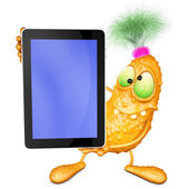 Monster has control over mobile tablet — Foto de Stock