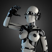 Woman robot of steel and white plastic — Stock Photo