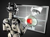 Robot woman manipulating hologram displey — Stock Photo