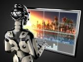 Robot mujer manipulando holograma displey — Foto de Stock
