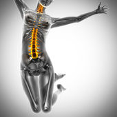 Jump woman radiography scan image — Stock Photo