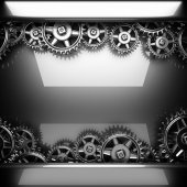 Metal polished background with cogwheel gears — Stock Photo
