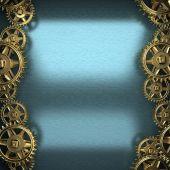 синий металлический фон с зубчатой шестерни — Стоковое фото