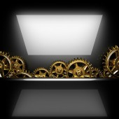 Metal polished background with cogwheel gears — Foto de Stock