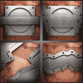 ベクトルの金属の背景を設定 — ストックベクタ
