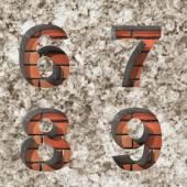 Vector ladrillo alfabeto cartas de juego — Vector de stock