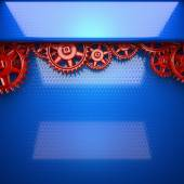 Blue metal background with red cogwheel gears — Stock Photo