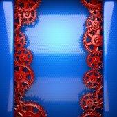 синий металлический фон с красной зубчатой шестерни — Стоковое фото