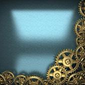 Blue metal background with cogwheel gears — Stockfoto