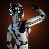 Robot mujer de plástico blanco y acero — Foto de Stock