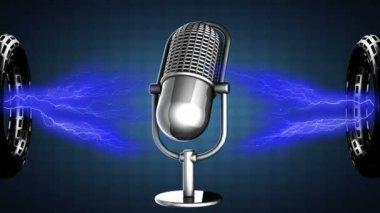 Loop rotate Retro microphone — ストックビデオ