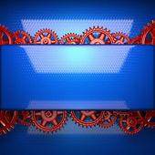 Kırmızı dişli dişli metal mavi artalanla — Stok fotoğraf