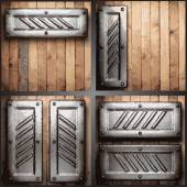 Vector metal and wood background set — Vector de stock