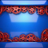 Fundo de metal azul com as engrenagens da roda dentada de vermelho — Foto Stock