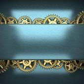 Vites dişli metal mavi artalanla — Stok fotoğraf
