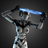 Woman robot of steel and white plastic with lightning — Stock Photo