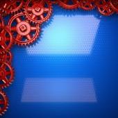 Niebieskim tle metalowych narzędzi czerwony inżynieria — Zdjęcie stockowe
