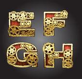 Vector wooden figure with gears alphabet set — Stock Vector