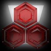 Metal background with red glass — Stock Photo
