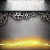 Metal background with cogwheel gears and electric lightning — Stock Photo