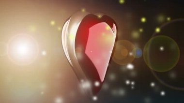 Heart rotate with flashlight — Vídeo Stock