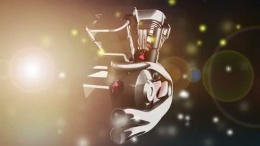 Bike engyne with flashlight — Stock Video