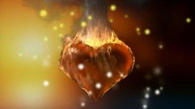 Burning heart. Alpha matted — Stock Video