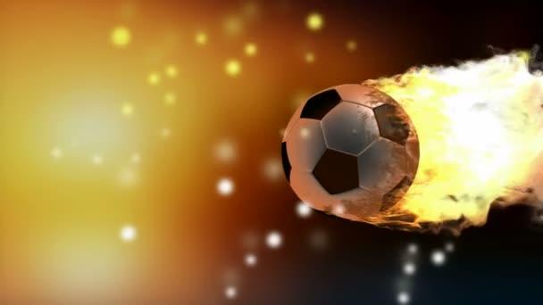 Balón de fútbol ardiente — Vídeo de stock