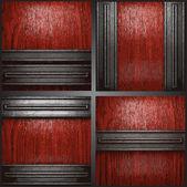 Vector metal madera fondo conjunto — Vector de stock