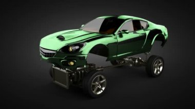 Loop Car chassis with engine of luxury brandless sportcar — ストックビデオ