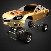 Car chassis with engine of luxury brandless sportcar — Stock Photo