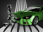 Luxury brandless sport car and woman robot — Photo